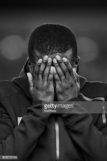 the images has been converted to black and white Tanguy Ndombele of Olympique Lyonnais reacts prior to the UEFA Europa League round of 32 second leg...