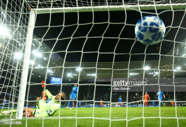 Tanguy Ndombele of Olympique Lyonnais scores his team's second goal during the Group F match of the UEFA Champions League between TSG 1899 Hoffenheim...