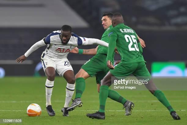 Tanguy NDombele of Tottenham Hotspur, Claudiu-Andrei Keseru of Ludogorets and Stephane Badji of Ludogorets battle for the ball during the UEFA Europa...