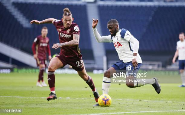 Tanguy Ndombele of Tottenham Hotspur in action during the Premier League match between Tottenham Hotspur and Leeds United at Tottenham Hotspur...