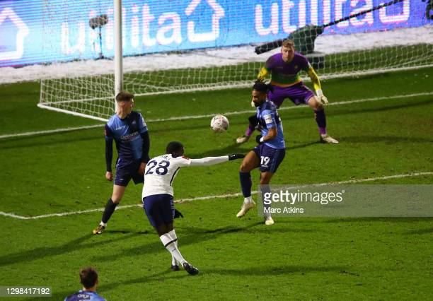 Tanguy NDombele of Tottenham Hotspur scores his sides fourth goal during The Emirates FA Cup Fourth Round match between Wycombe Wanderers and...