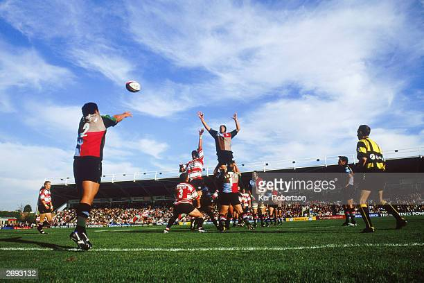 Tani Fuga the Harlequins hooker throws in on a lineout during the Zurich Premiership match between Harlequins and Gloucester on October 18th 2003 at...
