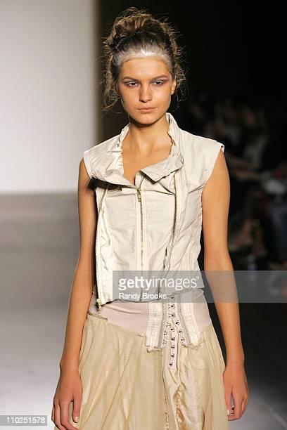 Tania Balash wearing Gary Graham Spring 2006 during Olympus Fashion Week Spring 2006 Gary Graham Runway at Bryant Park in New York City New York...