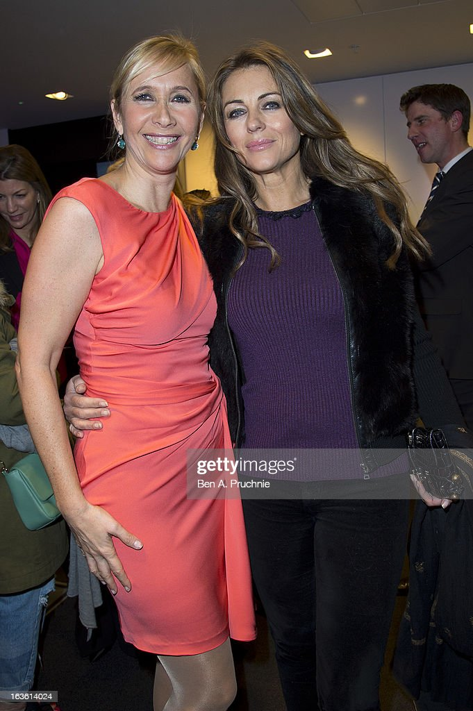 Tania Bryer and Elizabeth Hurley attends the screening of Tania Bryer's CNBC interview with former President Bill Clinton on March 13, 2013 in London, England.