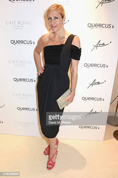 Tania Bryer arrives at the Quercus Foundation PreWimbledon Cocktails with Ana Ivanovic in the Ten Room at Hotel Cafe Royal on June 24 2015 in London...