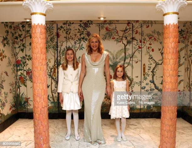 Tania Bryer in a Bruce Oldfield dress with daughters Natasha and Francesca backstage at The Dorchester Hotel for The Goldilocks Fashion Show in aid...