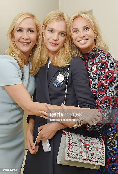 LR Tania Bryer philanthropist and model Natalia Vodianova and Corinna SaynWittgenstein attend the CNBC panel at The Core Club on September 27 2015 in...