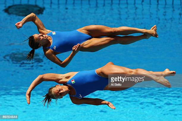 Tania Cagnotto and Francesca Dallape of Italy compete in the Women's 3m Synchronised Springboard during the 13th FINA World Championships at Stadio...