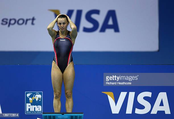 Tania Cagnotto of Italy compeates in the Women's 3m Springboard Final during the 18th FINA Visa Diving World Cup at The Aquatics Centre on February...