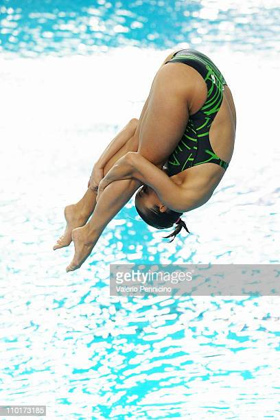 Tania Cagnotto of Italy competes during the women's 1m Springboard preliminaries during 2011 European Diving Championships at Piscina Monumentale on...