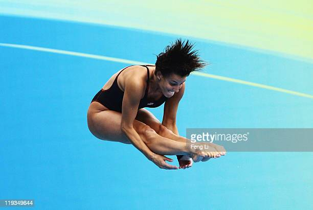 Tania Cagnotto of Italy competes in the Women's 1m Springboard Final during Day Four of the 14th FINA World Championships at the Oriental Sports...