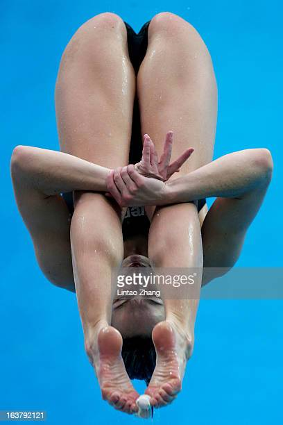 Tania Cagnotto of Italy competes in the Women's 3m springboard final during the day two of the FINA Diving World Series at the National Aquatics...