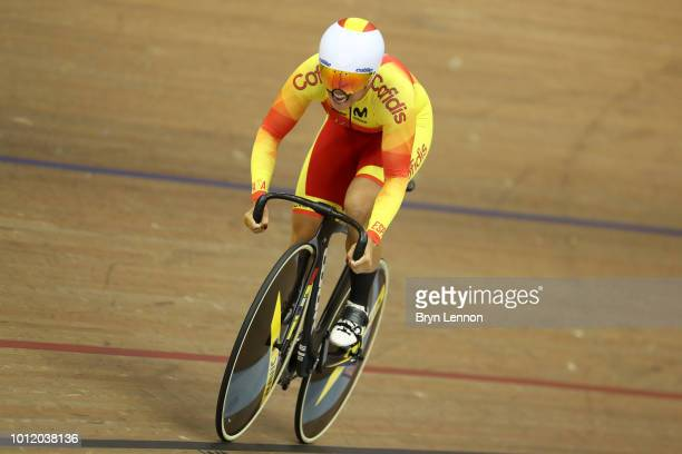 Tania Calvo of Spain competes in the Women's 500m Time Trial Qualifying during the track cycling on Day five of the European Championships Glasgow...