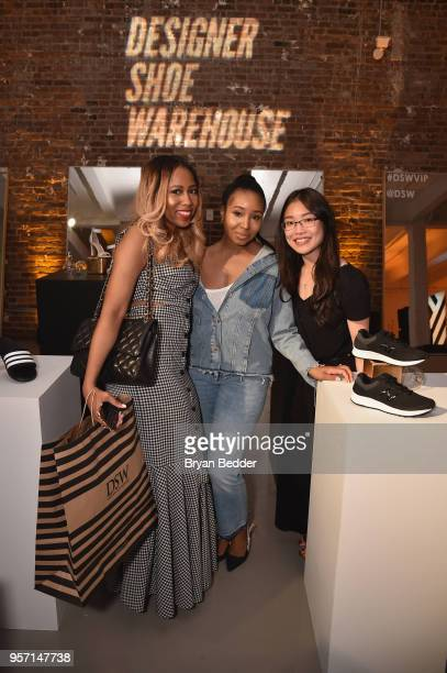 Tania Cascilla Jessica Whitney and KarYee Au attend as DSW celebrates the launch of the DSW VIP rewards program at Root NYC on May 10 2018 in New...