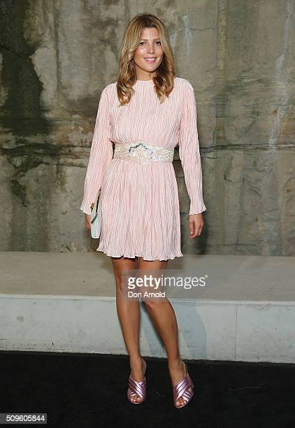 Tania Gacic arrives ahead of the Myer AW16 Fashion Launch at Barangaroo Reserve on February 11 2016 in Sydney Australia