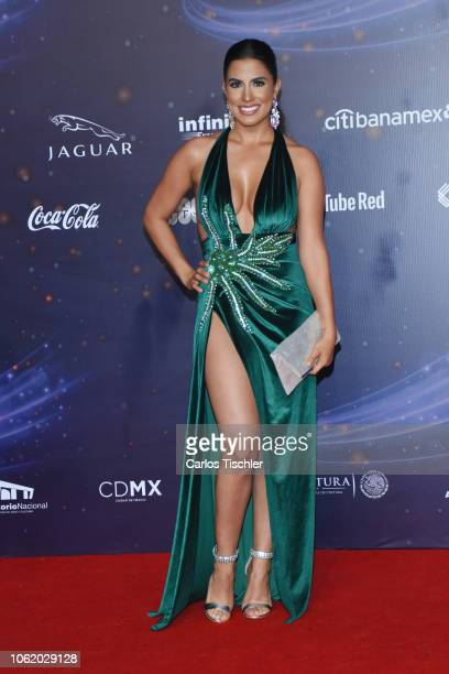 Tania Lizardo poses for photos on the red carpet before the XVII Lunas del Auditorio award ceremony at Auditorio Nacional on October 31 2018 in...