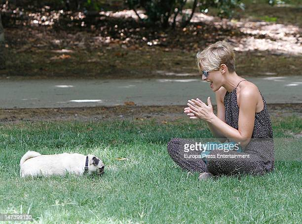 Tania Llasera and her pet dog are seen on June 29 2012 in Madrid Spain