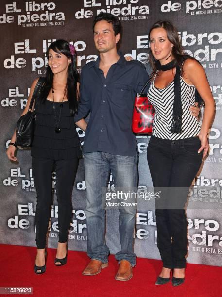 Tania Lopez Mario Corona and TV personality Tony Serdan attends the premiere of El Libro de Piedra at Cinepolis Universidad on April 14 2009 in...