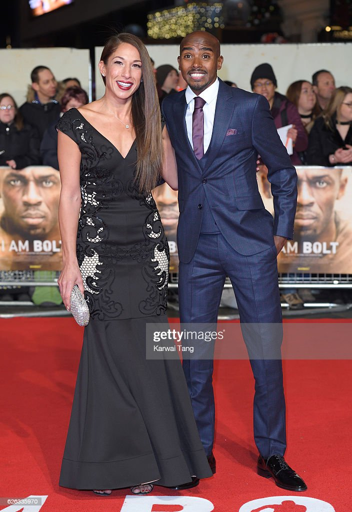 Tania Nell and Mo Farah attend the World Premiere of 'I Am Bolt' at Odeon Leicester Square on November 28, 2016 in London, England.