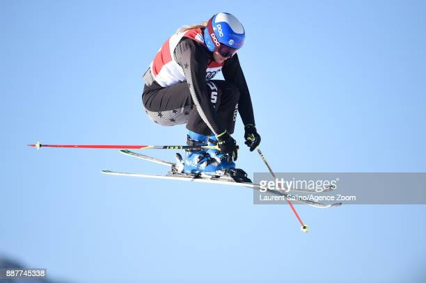 Tania Prymak of USA during qualifications during the FIS Freestyle Ski World Cup, Men's and Women's Ski Cross on December 7, 2017 in Val Thorens,...