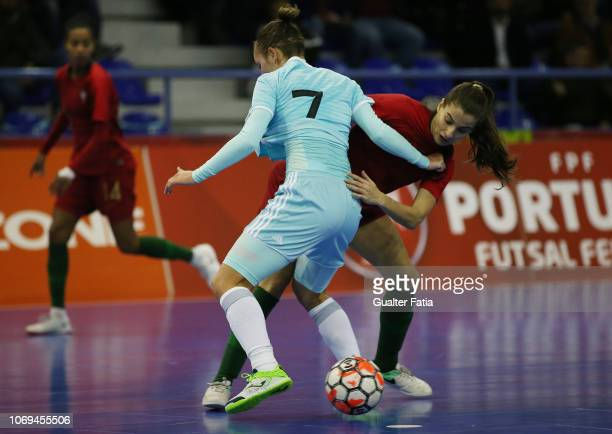 Tania Sousa of Portugal with Nikitina of Russia in action during the FUTSAL International match between Portugal and Russia at Pavilhao Municipal da...