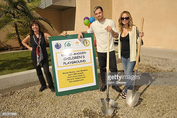 Tania Tull founder of Beyond Shelter musician Joel Madden and television personality Nicole Richie attend the groundbreaking ceremony for Beyond...