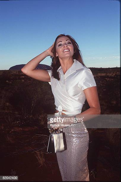 12 DECEMBER 1999 Tania Zaetta at the Cats Run Away to the Circus gala evening in the majestic Cats Big Top in the shadows of Uluru Northern Territory...
