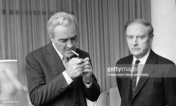 Taniaste Elect Mr Brendan Corish and Taoiseach Elect Mr Liam Cosgrave at Dublin Airport prior to their departure for London 373154