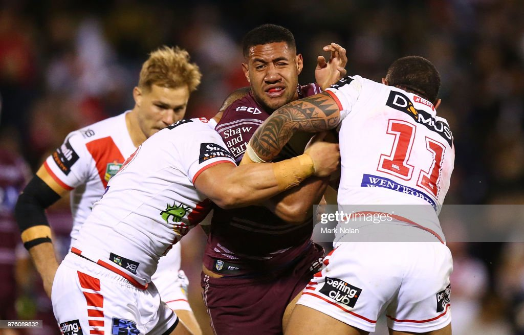 Taniela Paseka of the Eagles is tackled during the round 15 NRL match between the St George Illawarra Dragons and the Manly Sea Eagles at WIN Stadium on June 16, 2018 in Wollongong, Australia.