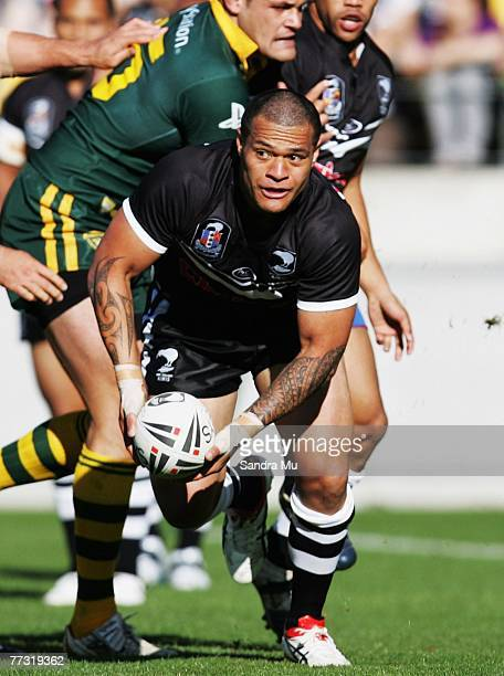 Taniela Tuiaki of the Kiwis looks to off load the ball during the Centennial Test match between the New Zealand Kiwis and the Australian Kangaroos at...