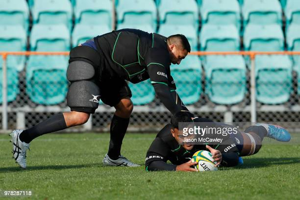 Taniela Tupou and Curtis Rona during an Australian Wallabies training session at Leichhardt Oval on June 19 2018 in Sydney Australia