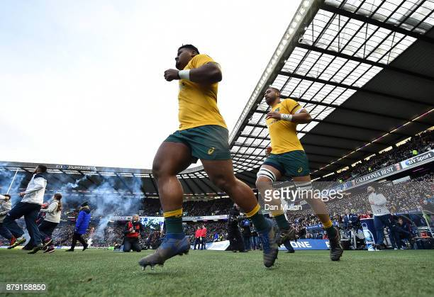 Taniela Tupou and Lukhan Tui of Australia make their way out onto the pitch during the International match between Scotland and Australia at...