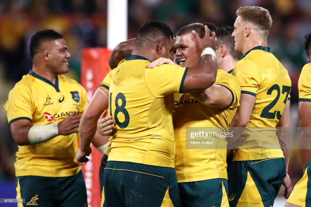 Taniela Tupou and Tom Robertson of the Wallabies celebrate victory during the International Test match between the Australian Wallabies and Ireland at Suncorp Stadium on June 9, 2018 in Brisbane, Australia.