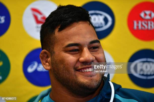 Taniela Tupou of Australia speaks to the media prior to a training session at the Lensbury Hotel on November 14 2017 in London England
