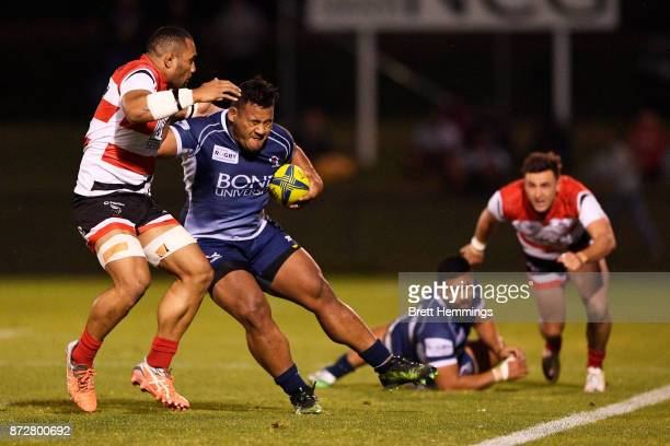 Taniela Tupou of Queensland is tackled during the NRC Grand Final match between Canberra and Queensland Country at Viking Park on November 11 2017 in...