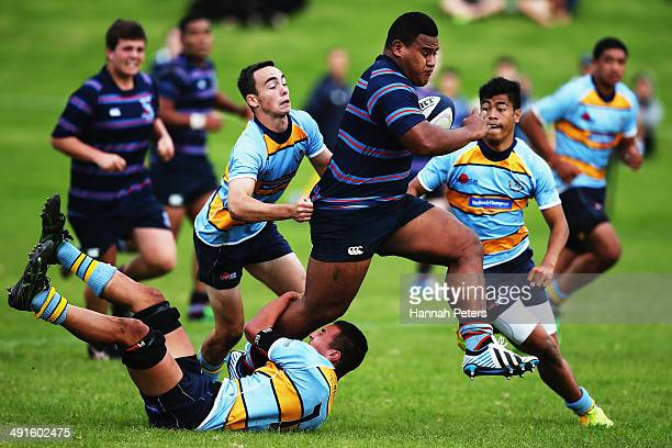 Taniela Tupou of Sacred Heart charges forward during the school rugby match between Sacred Heart and Mt Albert at Sacred Heart College on May 17 2014...