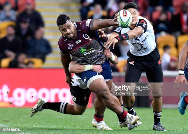 Taniela Tupou of the Reds takes on the defence during the round 19 Super Rugby match between the Reds and the Sunwolves at Suncorp Stadium on July 13...