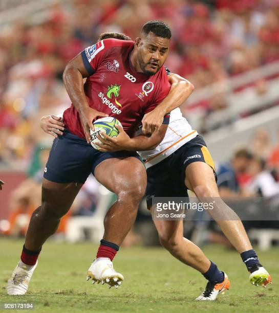 Taniela Tupou of the Reds tries to break from a tackle during round two of the Super Rugby match between the Reds and the Brumbies at Suncorp Stadium...