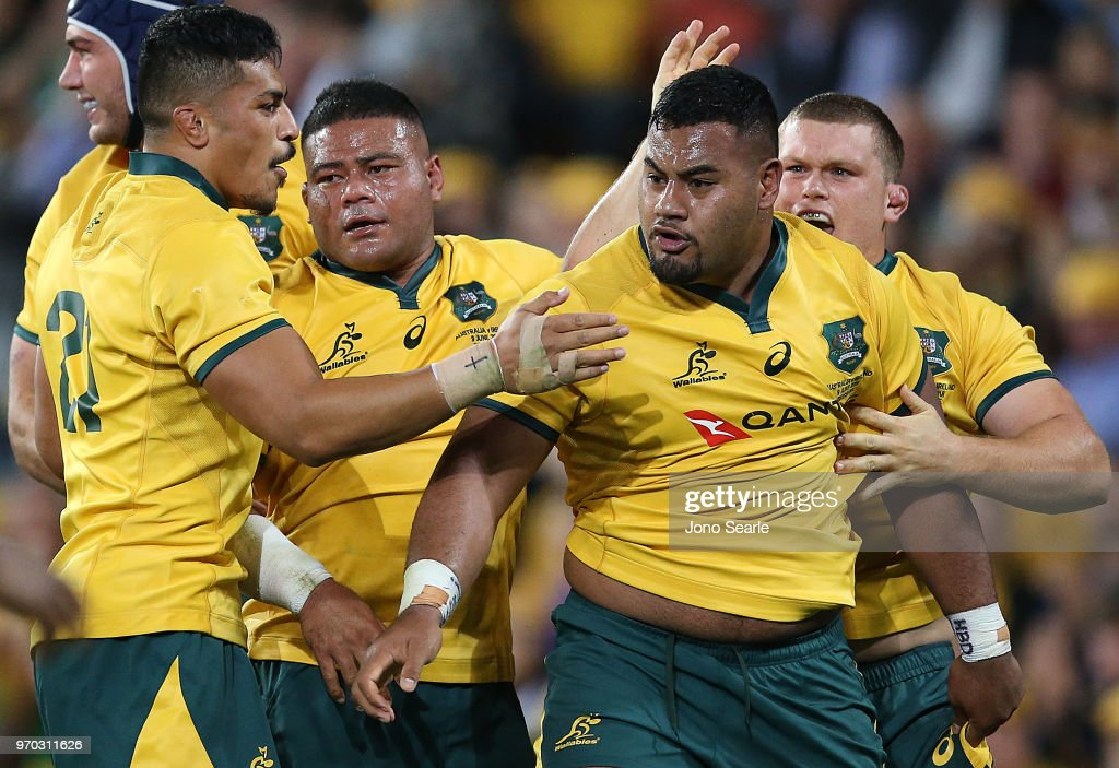 Taniela Tupou of the Wallabies (second right) celebrates winning a penalty with team mates during the International Test match between the Australian Wallabies and Ireland at Suncorp Stadium on June 9, 2018 in Brisbane, Australia.