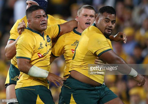 Taniela Tupou of the Wallabies celebrates winning a penalty with team mates during the International Test match between the Australian Wallabies and...