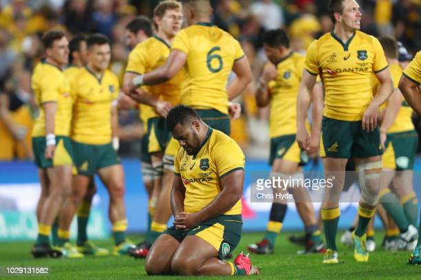 Taniela Tupou of the Wallabies celebrates winning The Rugby Championship match between the Australian Wallabies and the South Africa Springboks at...