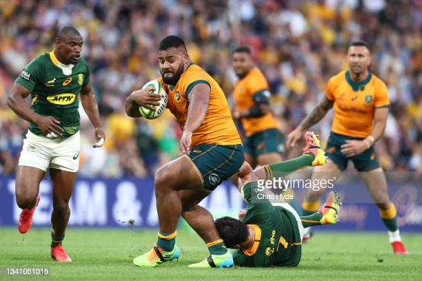 Taniela Tupou of the Wallabies charges forward during The Rugby Championship match between the Australian Wallabies and the South Africa Springboks...
