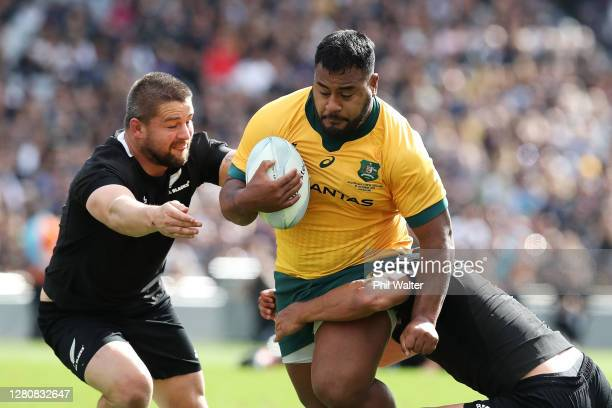 Taniela Tupou of the Wallabies is tackled during the Bledisloe Cup match between the New Zealand All Blacks and the Australian Wallabies at Eden Park...