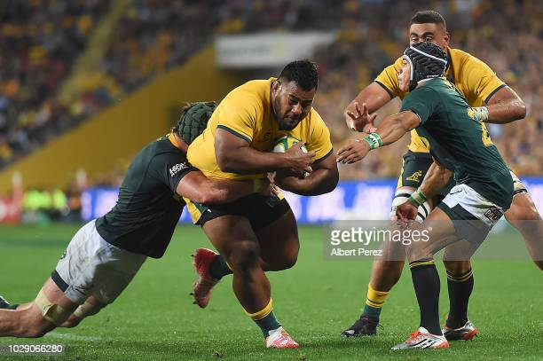 Taniela Tupou of the Wallabies is tackled during The Rugby Championship match between the Australian Wallabies and the South Africa Springboks at...