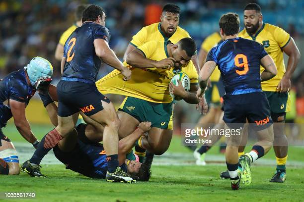 Taniela Tupou of the Wallabies is tackled during The Rugby Championship match between the Australian Wallabies and Argentina Pumas at Cbus Super...