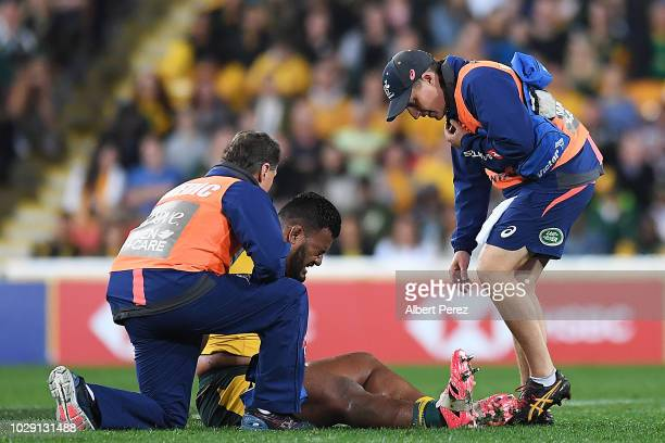Taniela Tupou of the Wallabies is treated by team doctors during The Rugby Championship match between the Australian Wallabies and the South Africa...