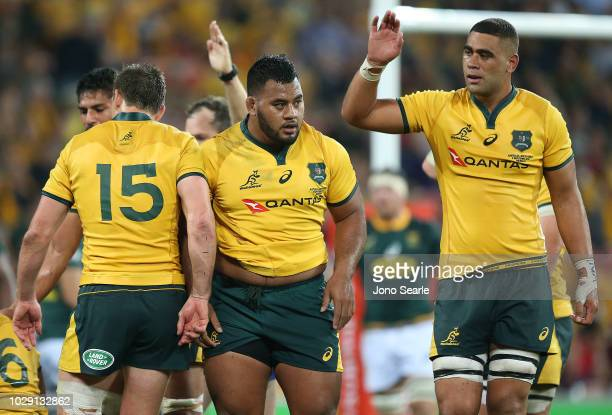 Taniela Tupou of the Wallabies looks on during The Rugby Championship match between the Australian Wallabies and the South Africa Springboks at...