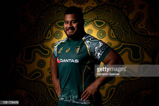 Taniela Tupou of the Wallabies poses during the Australian Wallabies 2020 First Nations Jersey portrait session on October 22 2020 in the Hunter...