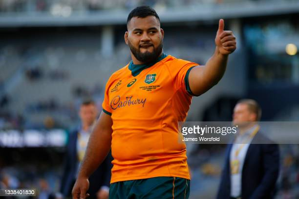 Taniela Tupou of the Wallabies reacts towards the crowd after the Bledisloe Cup match between the Australian Wallabies and the New Zealand All...