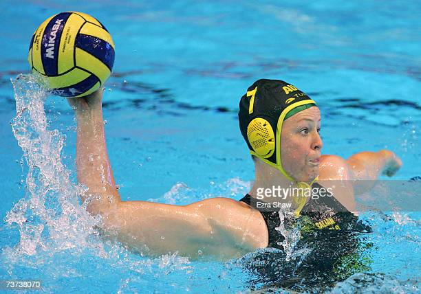 Taniele Gofers of Australia takes a shot at goal during the Women's Semi Final Water Polo match between Australia and Russia at the Melbourne Sports...
